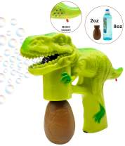 Bubble Gun Bubbles for Toddlers Dinosaur Bubble Blower with 8 oz Bubbles Green