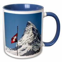 "3dRose mug_82640_6""Switzerland, Matterhorn, Mountain, Swiss flag - EU29 RER0035 - Ric Ergenbright"" Two Tone Blue Mug, 11 oz, Multicolor"
