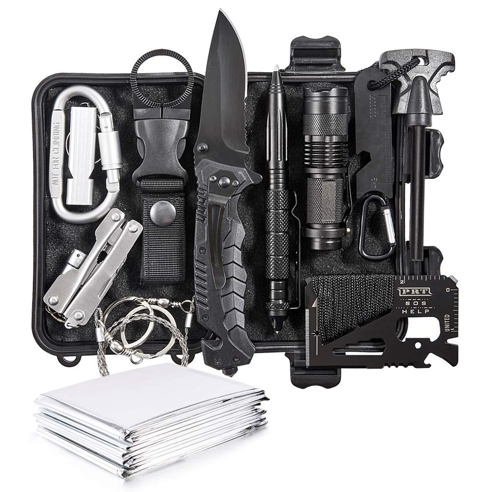 Emergency Survival Kit 13 in 1 - Outdoor Survival Gear Tool for Wilderness/Trip/Cars/Hiking/Camping Gear - Emergency Blanket, Flashlight, ect (Emergency Survival Kit SET2)