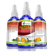 First Aid Herbal Wound Spray 30mL, All-Natural Ingredients and Botanical Extracts, Soothing Aloe Vera with Antiseptic Calendula Flower Blend, for Minor Cuts, Scrapes, Burns, Redness and Inflammation