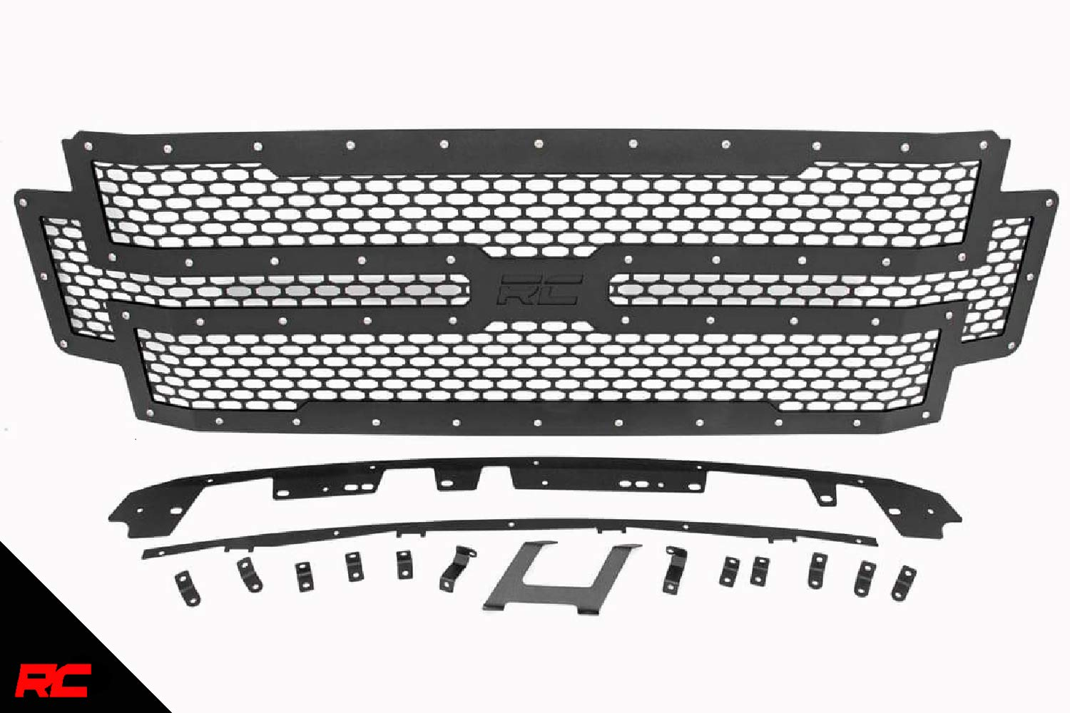 Rough Country Mesh Grille (fits) 2017-2020 Super Duty F250 F350 | Stainless Bolts | Bolt-On | Black | 70213