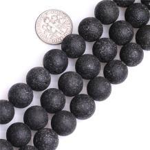 "JOE FOREMAN 12mm Round Black Frost Agate Semi Precious Genstone Beads for Jewelry Making Strand 15"""