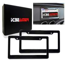 ICBEAMER Waterproof Black Plastic +Gloss Real Carbon Fiber for Auto Vehicle Truck Van License Plate Frames [Pack 2 pcs]