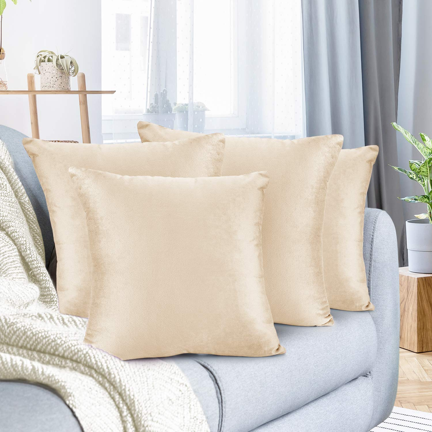 """Nestl Bedding Throw Pillow Cover 16"""" x 16"""" Soft Square Decorative Throw Pillow Covers Cozy Velvet Cushion Case for Sofa Couch Bedroom, Set of 4, Beige Cream"""