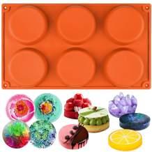 Funshowcase 6-Cavity Mini Disc Cake Pie Custard Tart Resin Coaster Silicone Mold 3-inch Small Fluted