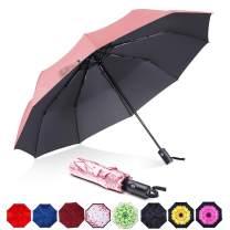 ABCCANOPY Umbrella Compact Rain&Wind Teflon Repellent Umbrellas Sun Protection with Black Glue Anti UV Coating Travel Auto Folding Umbrella, Blocking UV 99.98%,pink