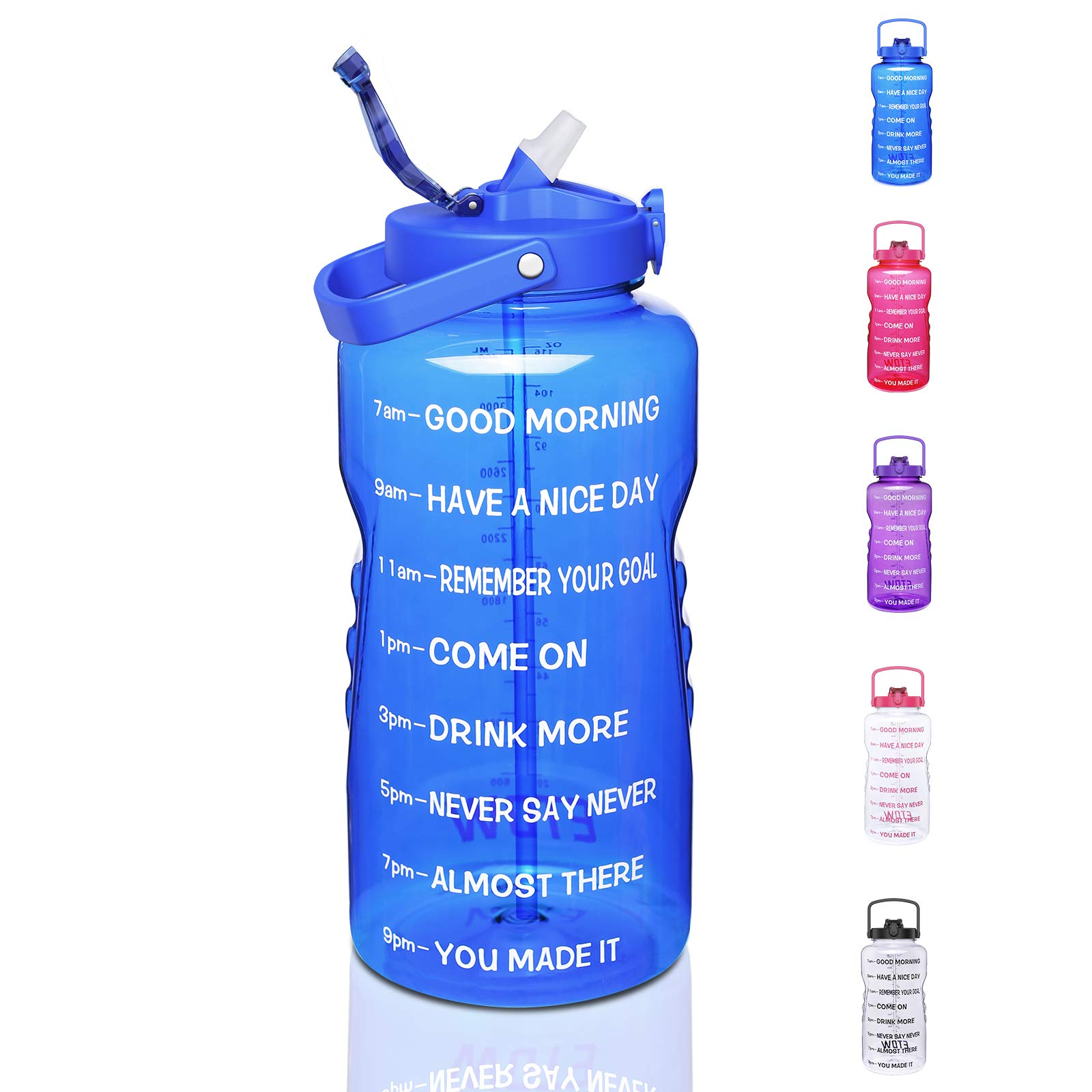 ETDW Water Bottle with Straw 1 Gallon, 128oz Tritan Sport Drinking Bottle with Time Marker and Handle 100% BPA Free, Gallon Water Jug for Daily Hydration