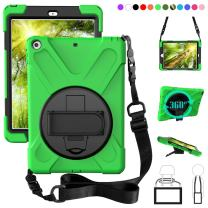 ZenRich New iPad 9.7 2017 2018 Case,360 Degree Rotatable with Kickstand,Hand Strap and Shoulder Strap case, 3 Layer Hybrid Heavy Duty Shockproof case for iPad 9.7 5th/6th Generation (Grass Green)