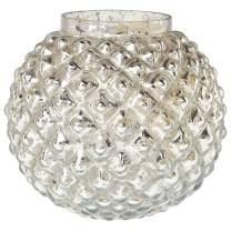 Luna Bazaar Vintage Mercury Glass Vase (5-Inch, Hazel Bubble Design, Silver) - Decorative Flower Vase - for Home Decor, Party Decorations, and Wedding Centerpieces