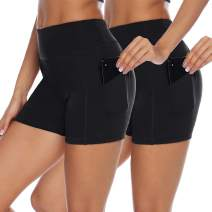 Whear Yoga Shorts for Women,High Waist Workout Shorts Tummy Control Running Athletic Leggings with Side Pockets