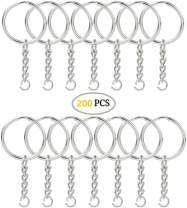 KINGFOREST 200PCS Split Key Ring with Chain and Jump Rings 1 inch, Nickel Plated Split Key Ring with Chain Silver Color Metal Split Key Chain Ring Parts with 1inch/25mm Open Jump Ring and Connector.