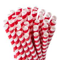 Webake Smoothie Straws Biodegradable 0.4 Inch Wide Paper Straws, Bulk 100 Pack Red Striped Jumbo Valentine's Day Drinking Straws, Great Eco Straws for Smoothies, Bubble Tea, Milkshake