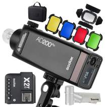 GODOX AD200Pro 200W 2.4G Speedlite Pocket Flash Strobe with X2T-S TTL Trigger with BD-07 Barn Door Honeycomb Grid 4 Color Filter Kit and AD-S15 Flash Lamp Tube Bulb Protector Cover, for Sony Camera