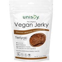 Unisoy Vegan Jerky Snacks, Vegetarian Plant Based Soy Protein Snack, The Original Meatless Healthy Jerky for Road Trips or Snacks On the Go (Teriyaki 3-Pack)