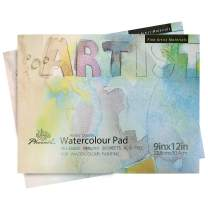 PHOENIX Watercolor Paper Pad - 9x12 Inch/2 Pack - 1/3 Inch Thick 20 Sheets Art Pad, Hot Pressed Painting Paper for Water Soluble Paints
