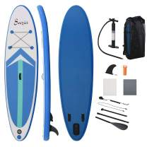 Soozier 11' x 31.5'' x 6.25'' Inflatable Stand Up Paddle Board with Accessories, Including SUP Paddle, Carry Bag, & Air Pump