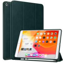 """MoKo Case Fit 2019 New iPad 10.2"""" with Apple Pencil Holder, Slim Lightweight Smart Shell Stand Cover Case Fit iPad 7th Gen 2019, Auto Wake/Sleep - Night Green"""
