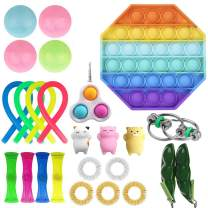 luethbiezx Fidget Toys Set Sensory Toys Pack for Stress Relief ADHD Anxiety Autism Special Needs for Kids and Adults Squeeze Sensory Toy (25 Pack Rainbow-2)