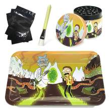 Metal Rolling Tray Combo Kit with Aluminum Herb Grinder,Cleaning Brush Set