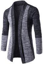 WHATLEES Mens Casual Long Open Front Slim Sweater Cardigan