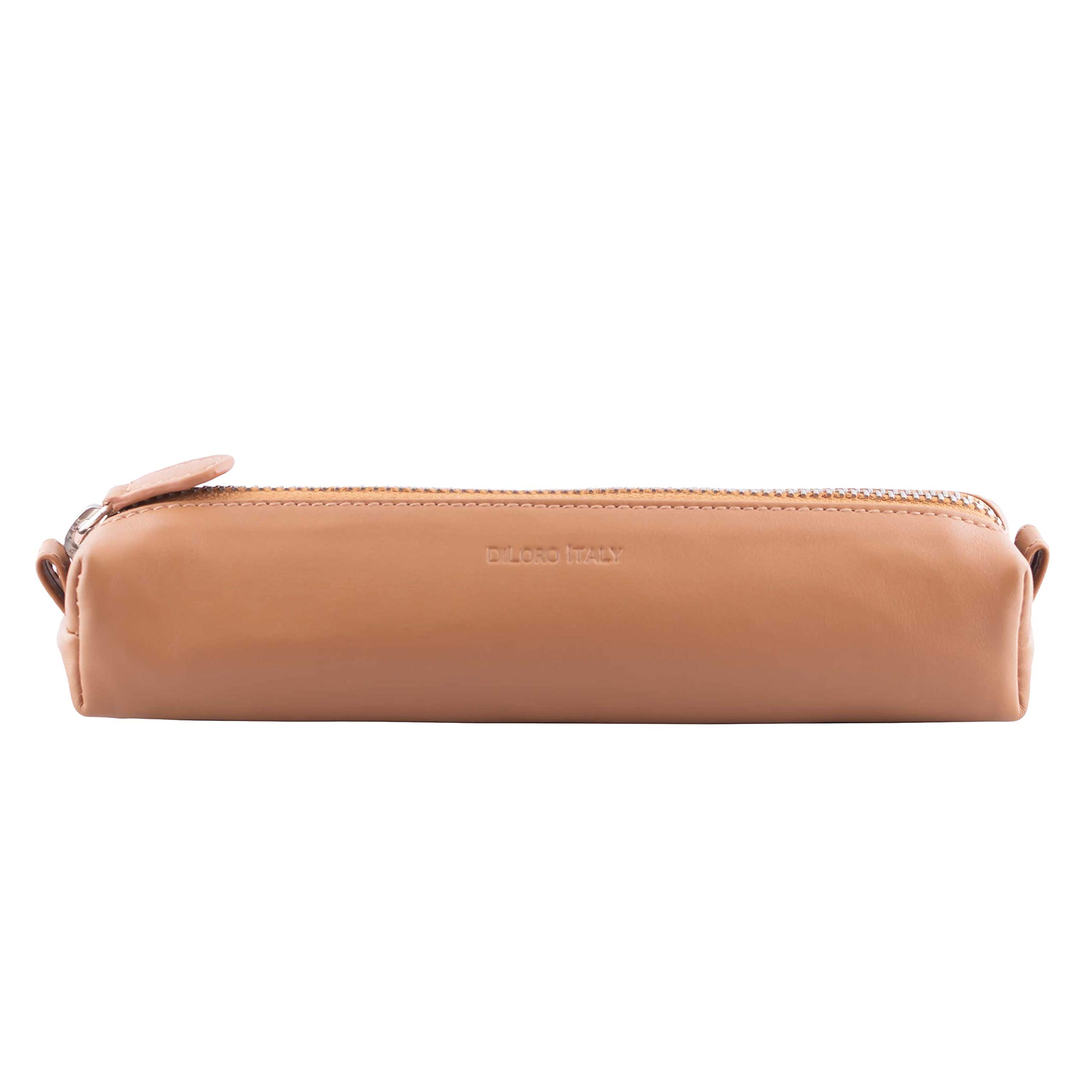 DiLoro Leather Zippered Fountain Ballpoint Rollerball Pens and Pencils Case Holder Pouch Genuine Full Grain Soft Nappa Leather (Tan)