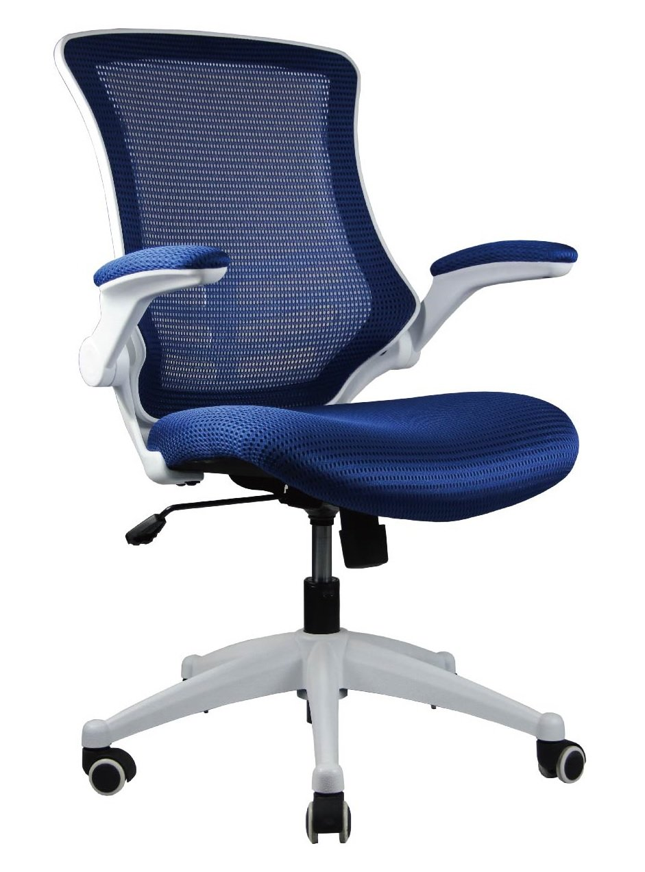 Manhattan Comfort Lenox Collection Mesh Back Height Adjustable Comfortable Office Desk Chair, Set of 2, Royal Blue