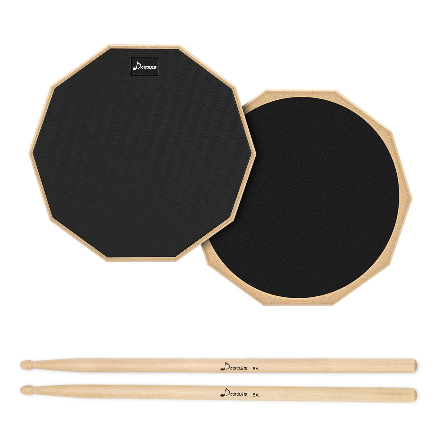 Donner Drum Practice Pad, 8 Inch Double Sided Silent Drum Pad With Drumsticks, Black