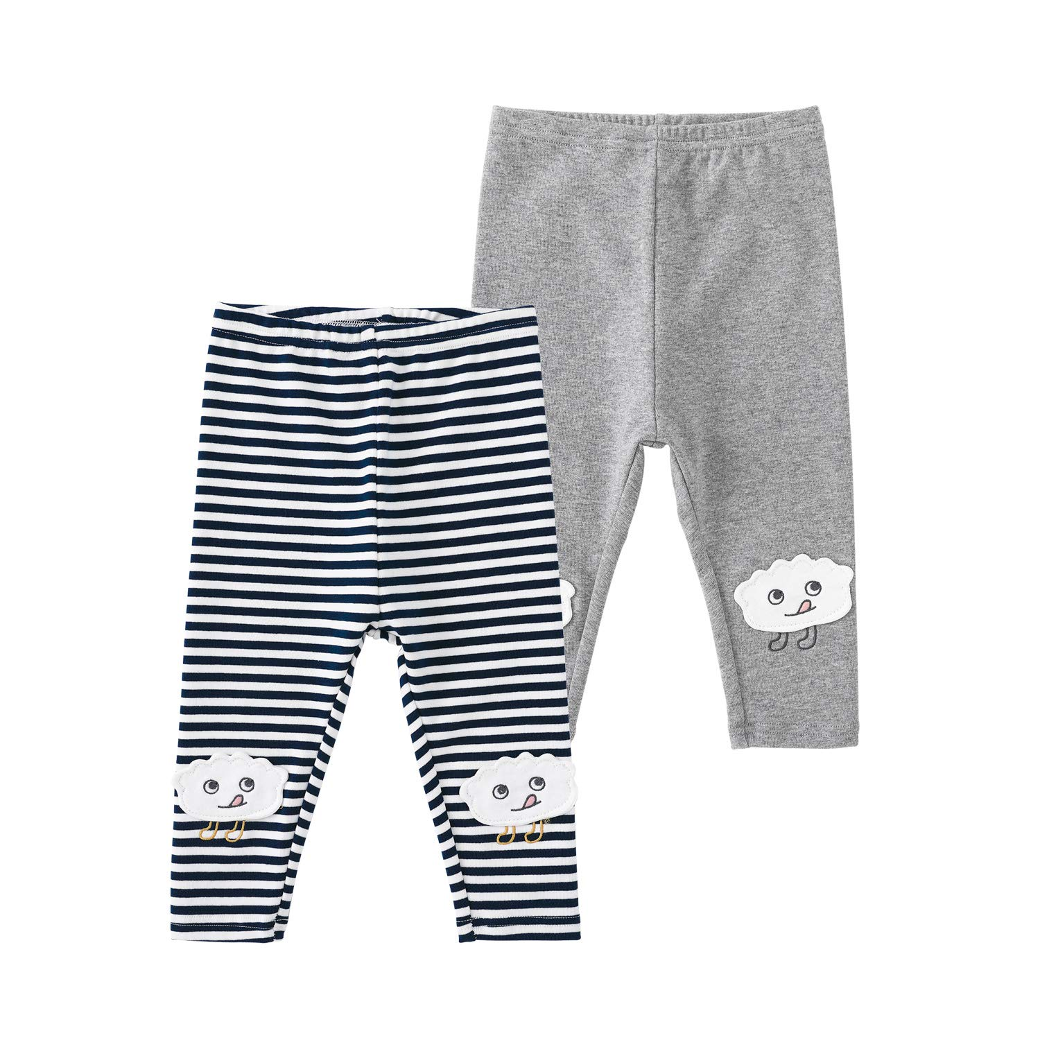 pureborn Baby and Toddler Girls 2 Pack Leggings Pants Cotton Spring Essentials