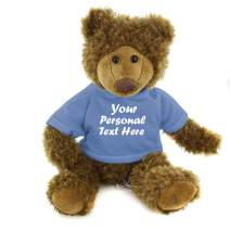Plushland Adorable Frankie Bear 12 Inches, Stuffed Animal Personalized Gift - Great Present for Mothers Day Valentine Day Graduation Day Birthday Christmas - Custom Text on Hoodie (Powder Blue)