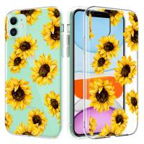 Caka Clear Case for iPhone 11 Clear Flower Case Sunflower Floral for Girls Women Slim Flexible Premium Clarity Soft TPU Protective Transparent Flower Case for iPhone 11 (6.1 inch)(Sunflower)