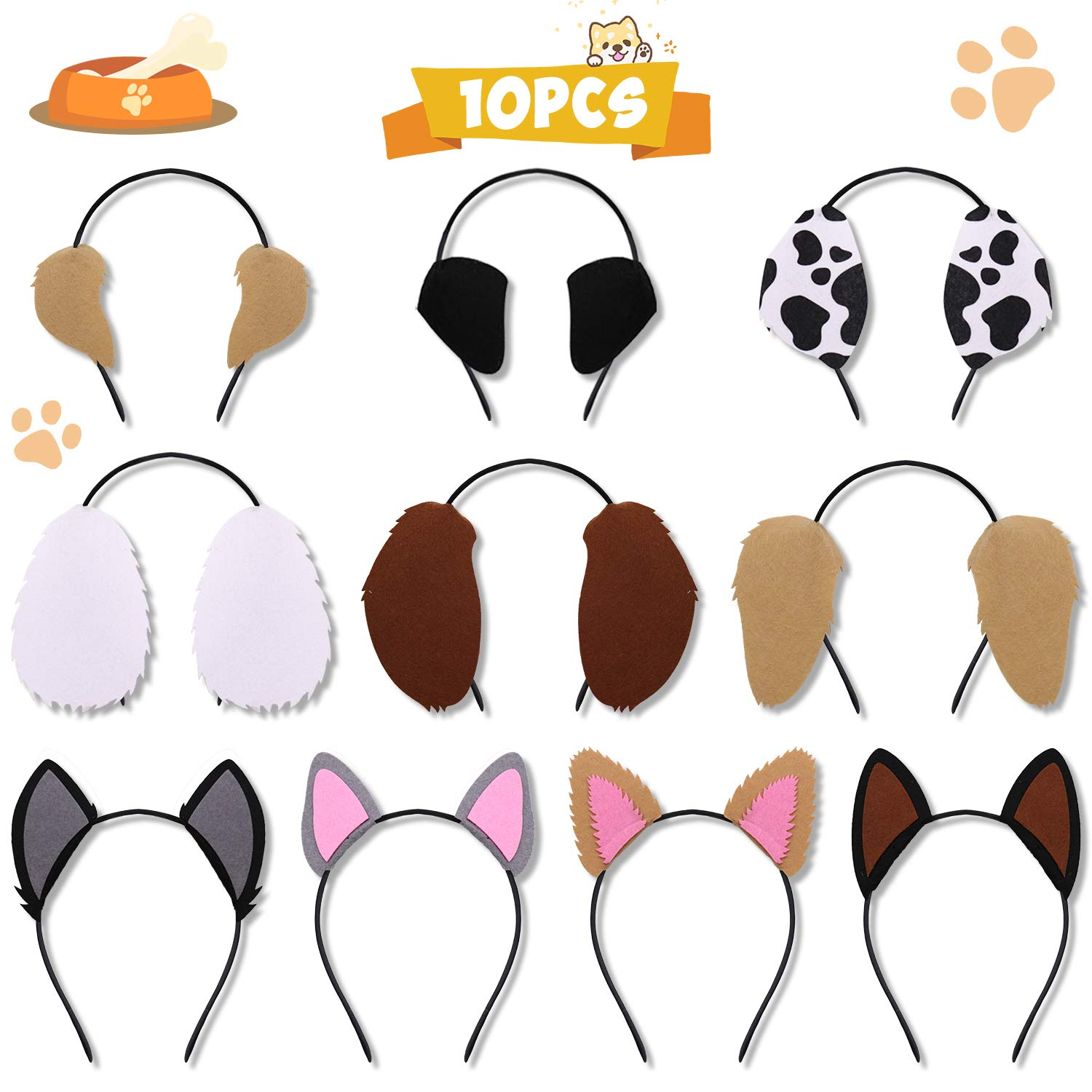 CiyvoLyeen Puppy Dogs Ear Headbands for Pet Birthday Party Favors Kids Toddlers Adults Photo Booth Props Costumes Dress-up Party Supplies Set of 10