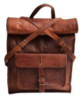 "23"" Brown Leather Backpack Vintage Rucksack Laptop Bag Water Resistant Roll Top College Bookbag Comfortable Lightweight Travel Hiking/picnic For Men"