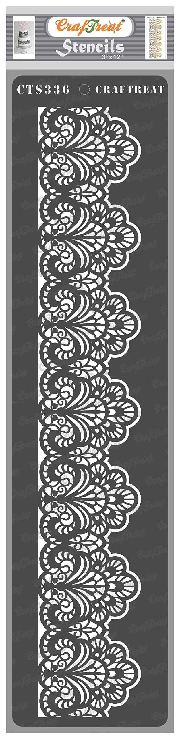 CrafTreat Lace Stencils for Painting on Wood, Canvas, Paper, Fabric, Floor, Wall and Tile - Border1-3x12 Inches - Reusable DIY Art and Craft Stencils for Border - Border Lace Wall Stencil