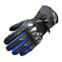 Waterproof Motorcycle Gloves Carbon Fiber Shell Water Warm Motorbike Gloves with Touch Screen Function for Men Women Blue Large