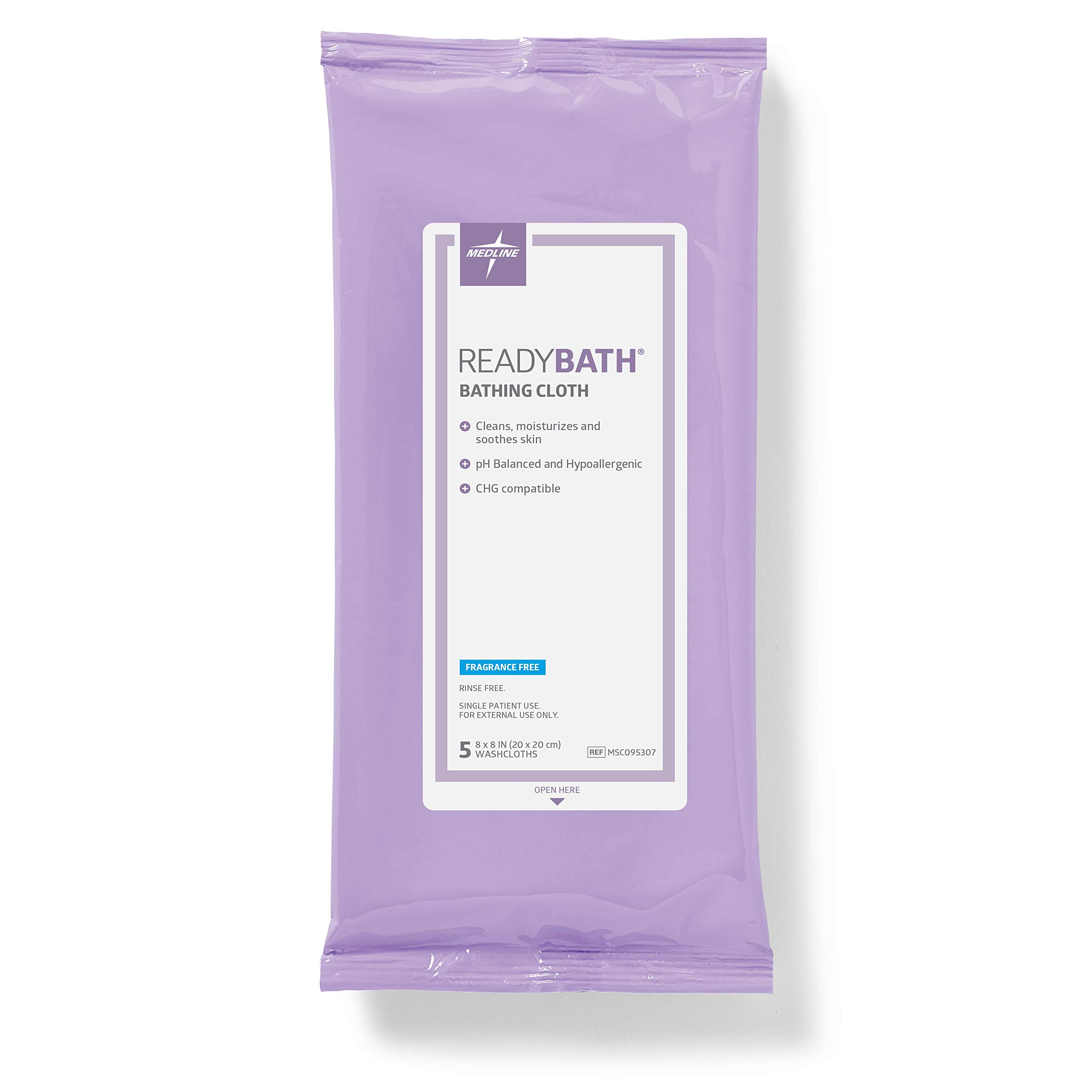 Medline ReadyBath Unscented Body Cleansing Cloths, Standard Weight Wipes (5 Count Pack, 30 Packs)
