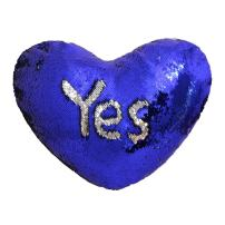 "TRLYC Royal Blue and Silver 13""x15"" Heart Shaped Magic Mermaid Pillow Case Reversible Sequin Glitter Cushion Cover with Insert"