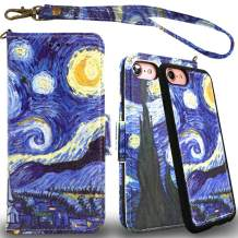 Mefon Detachable Leather Wallet Phone Case, with Tempered Glass and Wrist Strap, Enhanced Magnetic Closure, Durable Slim, Luxury Flip Folio Cases for Apple iPhone 8 7, 6S 6, 4.7 inch (Starry Night)