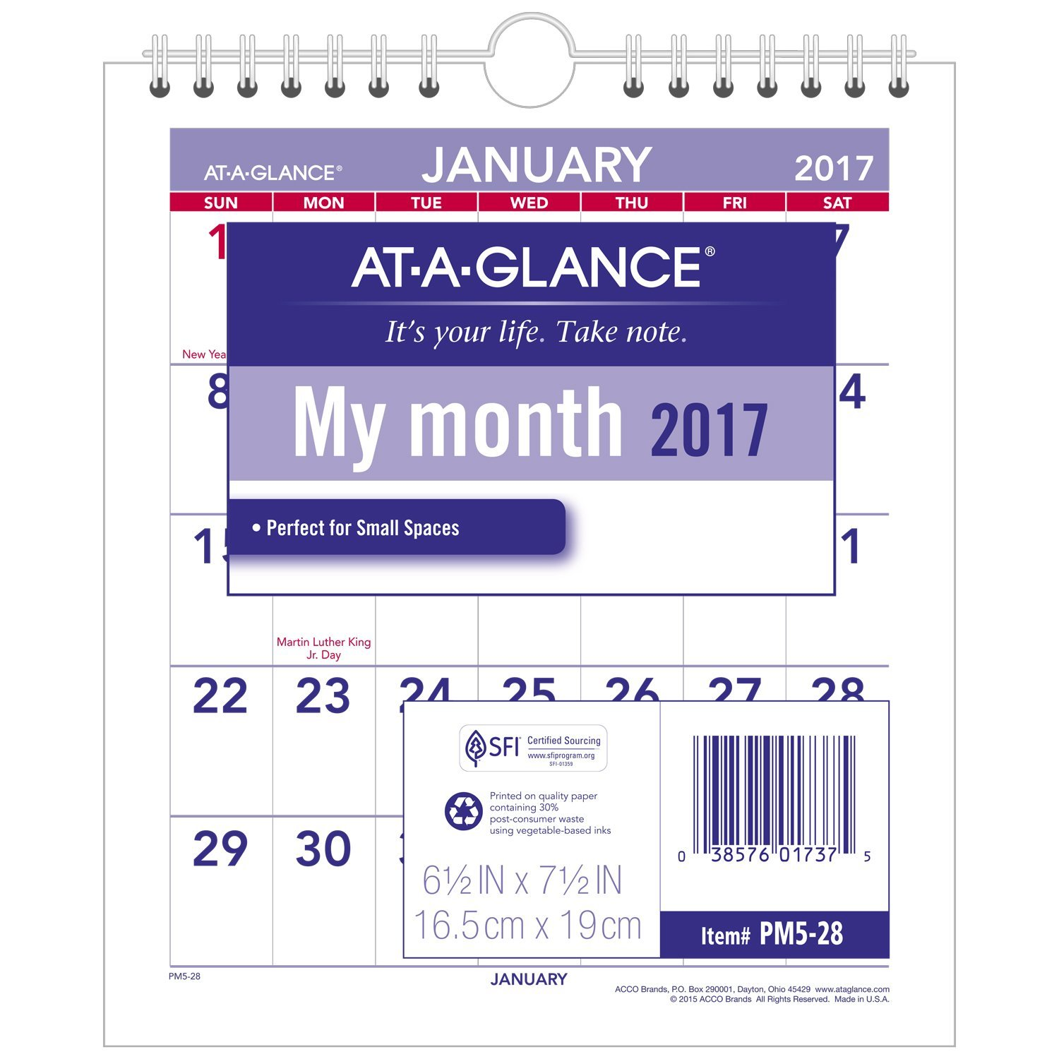 """AT-A-GLANCE Wall Calendar 2017, Monthly, 6-1/2 x 7-1/2"""", Mini-Size, Unruled (PM5-28)"""