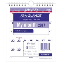 "AT-A-GLANCE Wall Calendar 2017, Monthly, 6-1/2 x 7-1/2"", Mini-Size, Unruled (PM5-28)"