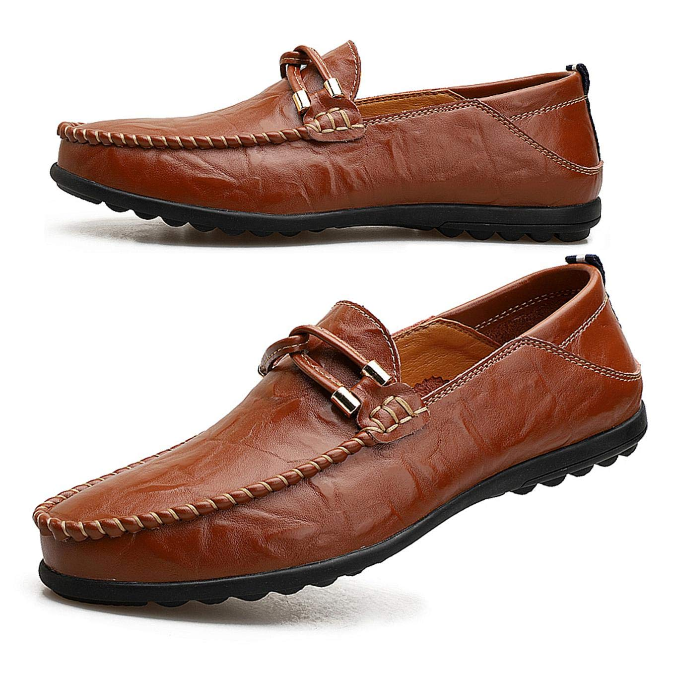Men Breathable Driving Casual Boat Shoes Leather Flats Moccasin Slip On Loafers