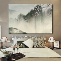 wall26 Canvas Wall Art - Chinese Ink Painting of Mountain Landscape in Spring with Birds and Cherry Blossom - Giclee Print Gallery Wrap Modern Home Decor Ready to Hang - 32x48 inches