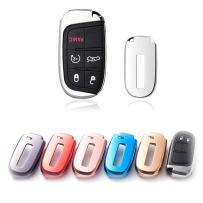 Xotic Tech Soft TPU Silver Remote Smart Key Fob Shell Cover Protective Case for Jeep Chrysler Dodge