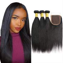 Brazilian Virgin Human Hair Straight 3 Bundles Human Hair With Lace Closure Grade 8A 100% Unprocessed Human Hair Bundles With Silk Closure Free Part Natural Black 8 10 12 with 8""