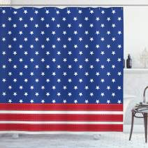 """Ambesonne 4th of July Shower Curtain, Stars and Stripes with Old Glory Theme Abstract Independence Day Composition, Cloth Fabric Bathroom Decor Set with Hooks, 75"""" Long, Navy Red"""
