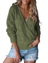 MEROKEETY Womens Deep V Neck Wrap Sweaters Long Sleeve Crochet Knit Pullover Top