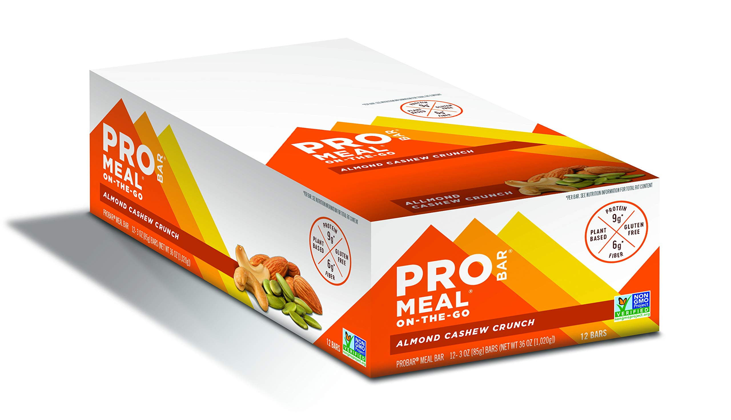 PROBAR - Meal Bar, Almond Cashew Crunch, Non-GMO, Gluten-Free, Certified Organic, Healthy, Plant-Based Whole Food Ingredients, Natural Energy (12 Count)