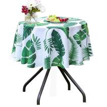 Poise3EHome 60 inches Outdoor/Indoor Waterproof Tropical Round Tablecloth Green for Camping Picnic Party Patio Table Spring, Palm Leaf