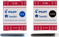 Pilot Namiki IC100 Fountain Pen Ink Cartridge, Black & Blue 12 Cartridges per Pack (1 Black Pack & 1 Blue Pack)