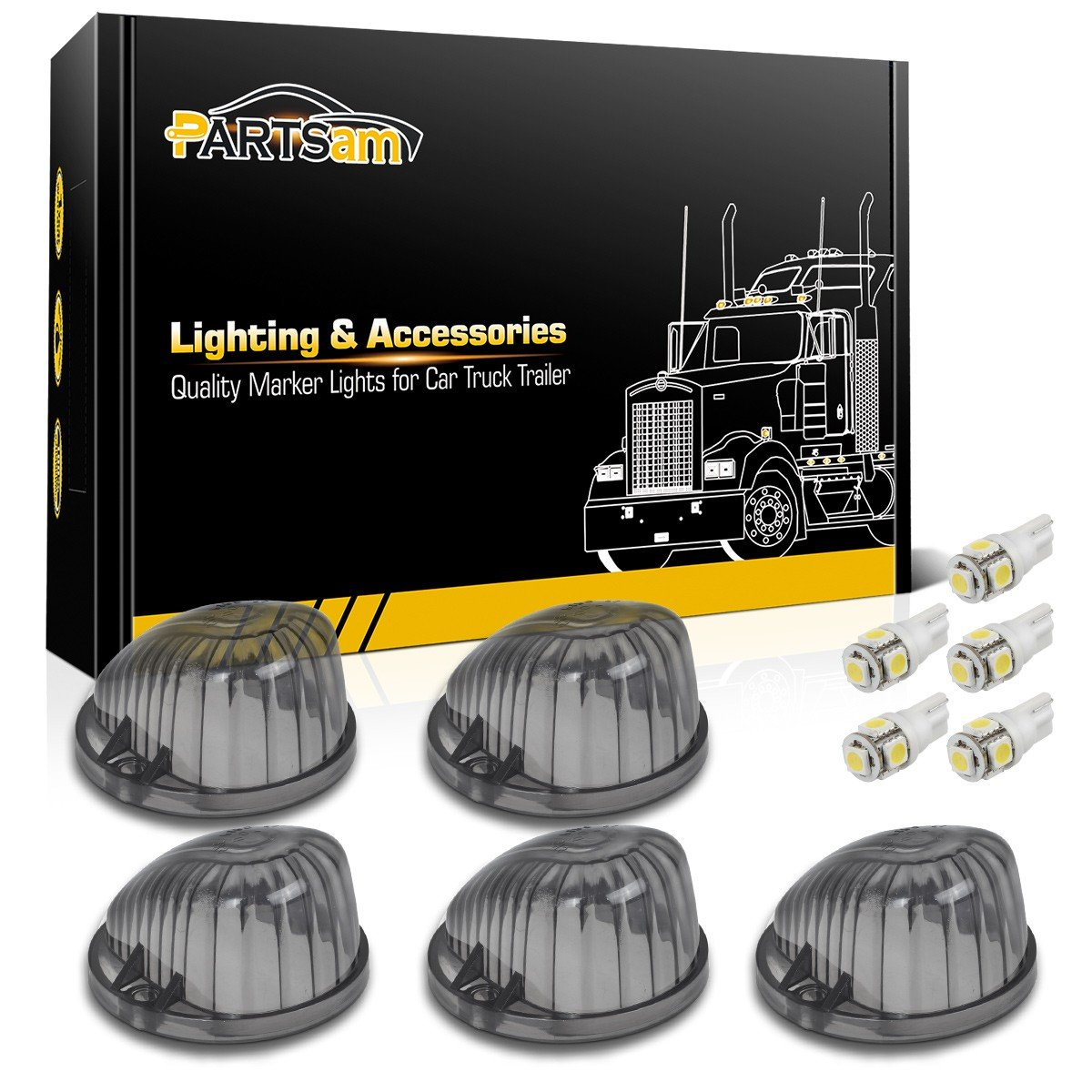 Partsam 5X Cab Marker Round Light Smoke Lens 1313S+ White T10 LED Bulb Compatible with Chevrolet/GMC C1500 C2500 C3500 C4500/Suburban Blazer 1973-1987 Full Size Pickup Trucks