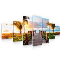 Startonight Huge Canvas Wall Art Summer Bridge Beach I - Large Framed Set of 7 40 x 95 Inches